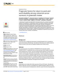 Prognostic factors for return to work and work disability among ... - PLOS