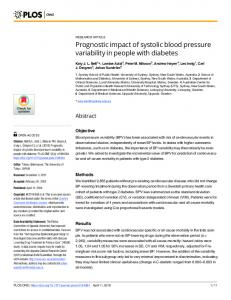 Prognostic impact of systolic blood pressure variability in ... - PLOS
