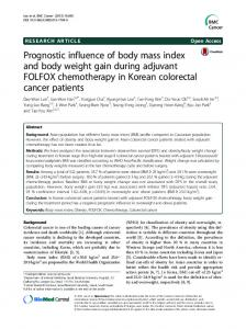 Prognostic influence of body mass index and body weight ... - CiteSeerX
