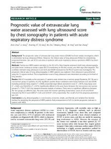Prognostic value of extravascular lung water