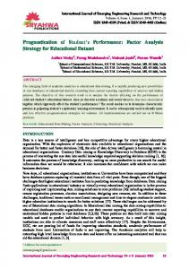 Prognostication of Student's Performance: Factor Analysis Strategy for ...