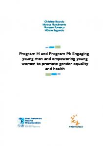 Program H and Program M: Engaging young men and ... - Promundo