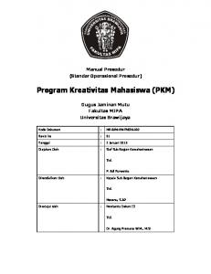 Program Kreativitas Mahasiswa (PKM) - Fakultas MIPA Universitas ...