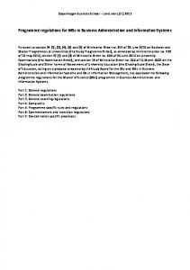 Programme regulations for MSc in Business ... - Sar - CBS