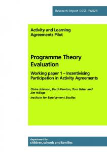 Programme Theory Evaluation - Institute for Employment Studies