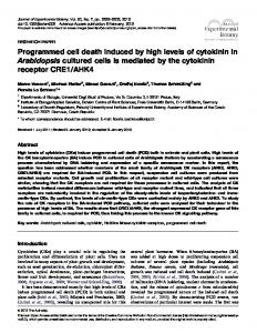 Programmed cell death induced by high levels of cytokinin in ...