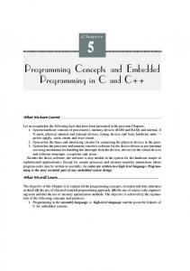 Programming Concepts and Embedded Programming in C and C++