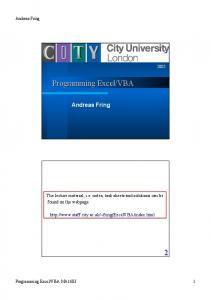 Programming Excel/VBA 2 - City University London