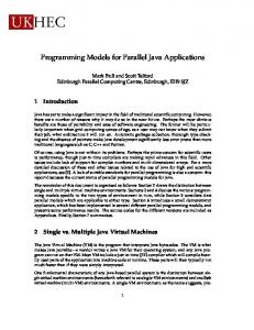 Programming Models for Parallel Java Applications - Semantic Scholar