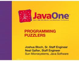 PROGRAMMING PUZZLERS