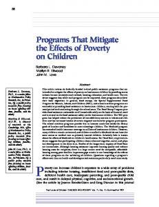 Programs That Mitigate the Effects of Poverty on ... - Princeton University
