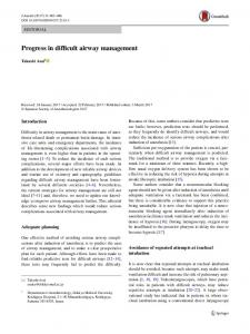 Progress in difficult airway management - Springer Link