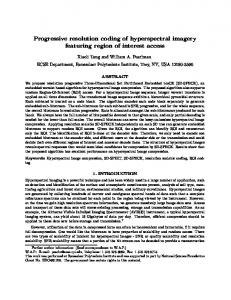 Progressive resolution coding of hyperspectral imagery ... - RPI ECSE