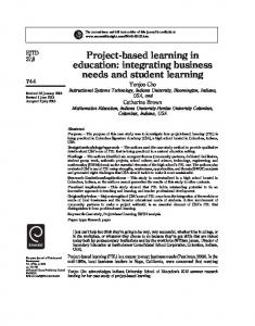 Project-based learning in education: integrating ... - Ingenta Connect
