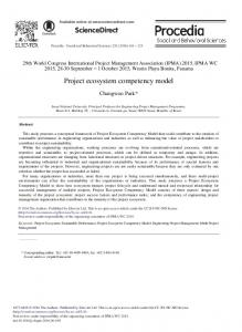 Project Ecosystem Competency Model - ScienceDirect.com