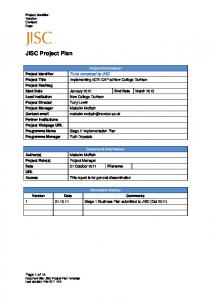 Project Implementation Plan - Jisc