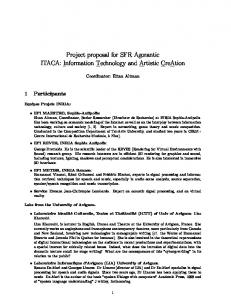 Project proposal for SFR Agorantic ITACA: Information Technology ...