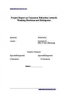 PROJECT REPORT ON - MBA Project