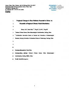 Projected Changes in Haze Pollution Potential in China: An Ensemble ...