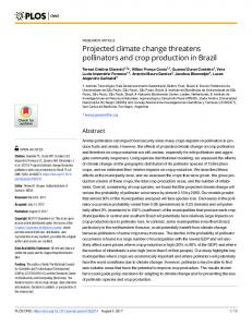 Projected climate change threatens pollinators and crop ... - PLOS
