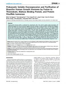 Prokaryotic Soluble Overexpression and Purification of Bioactive ...