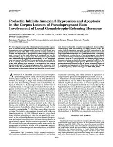 Prolactin Inhibits Annexin 5 Expression and Apoptosis in the Corpus ...