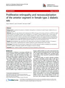 Proliferative retinopathy and neovascularization of the anterior ...