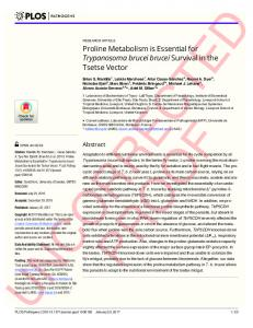 Proline Metabolism is Essential for Trypanosoma brucei brucei ... - PLOS