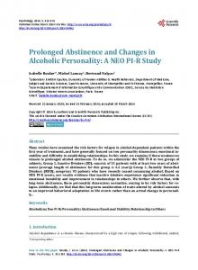 Prolonged Abstinence and Changes in Alcoholic Personality: A NEO ...