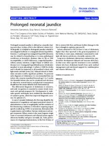 Prolonged neonatal jaundice - Springer Link