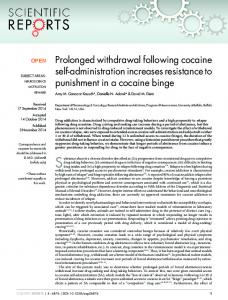 Prolonged withdrawal following cocaine self ... - Semantic Scholar