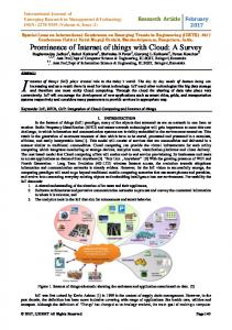 Prominence of Internet of things with Cloud: A Survey - IJERMT