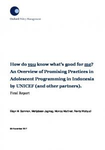 Promising Practices Final Report - Unicef