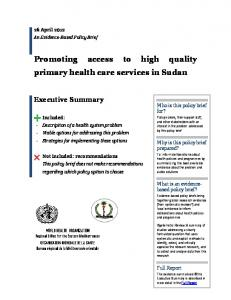 Promoting access to high quality primary health care services in ...
