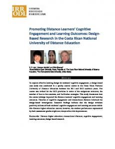 Promoting Distance Learners' Cognitive Engagement and ... - Eric
