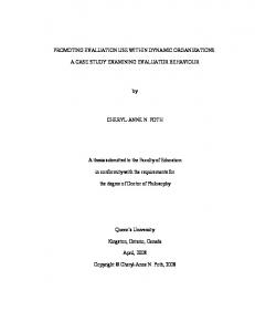 PROMOTING EVALUATION USE WITHIN DYNAMIC ... - QSpace
