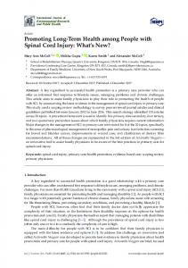Promoting Long-Term Health among People with Spinal Cord Injury
