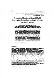 Promoting Meaningful Use of Health Information Technology in Israel ...