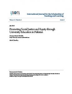 Promoting Social Justice and Equity through University Education in