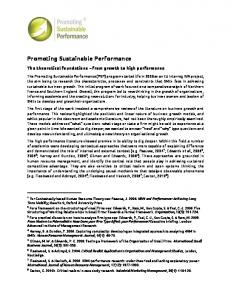 Promoting Sustainable Performance