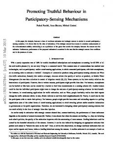 Promoting Truthful Behaviour in Participatory ... - Semantic Scholar