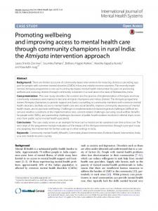 Promoting wellbeing and improving access to mental health care ...