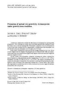 Promotion of upland rice growth by Actinomycetes under growth room ...