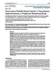 Prone versus Modified Supine Position in Percutaneous ...
