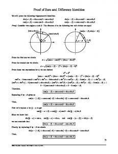 Proof of Sum and Difference Identities