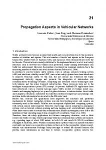 Propagation Aspects in Vehicular Networks
