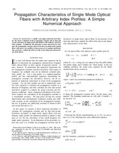 Propagation Characteristics of Single Mode Optical Fibers with