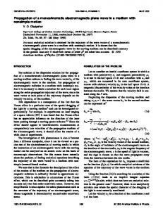 Propagation of a monochromatic electromagnetic ... - Springer Link