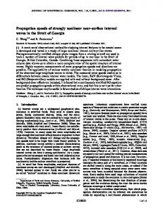 Propagation speeds of strongly nonlinear near-surface internal waves ...