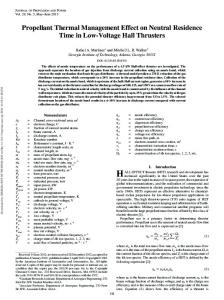 Propellant Thermal Management Effect on Neutral ... - HPEPL